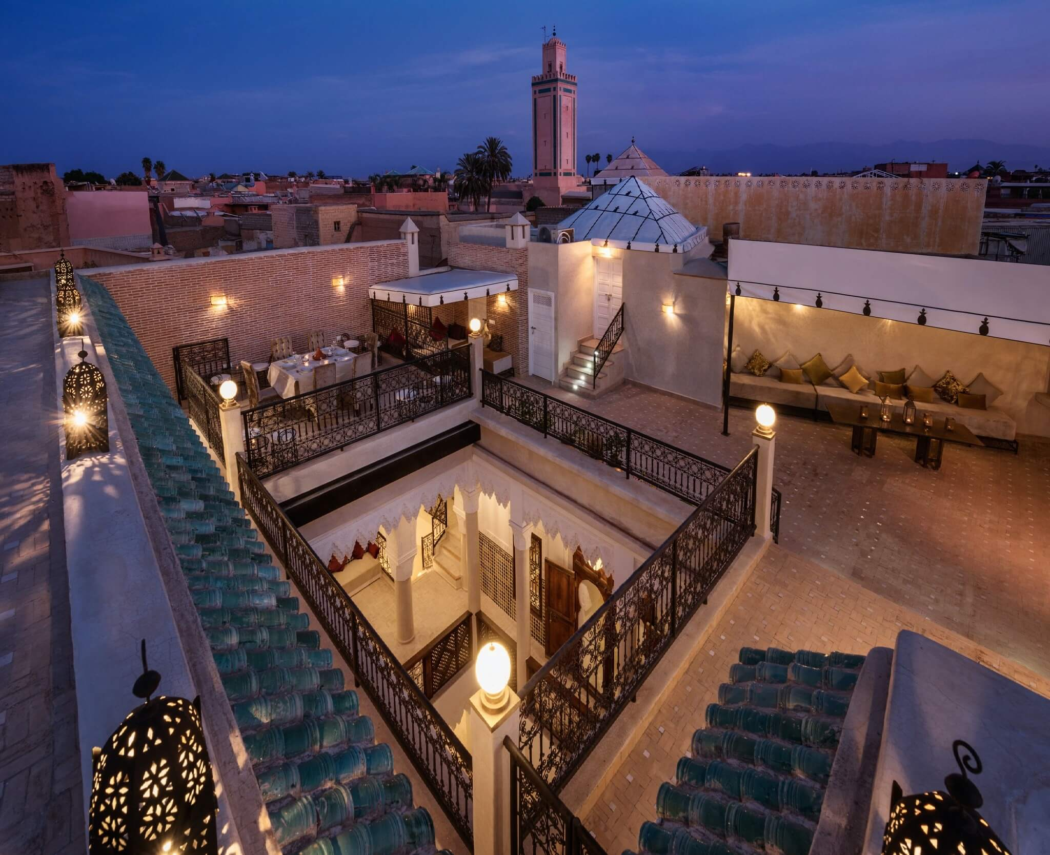 Riad Spice roof terrace at night